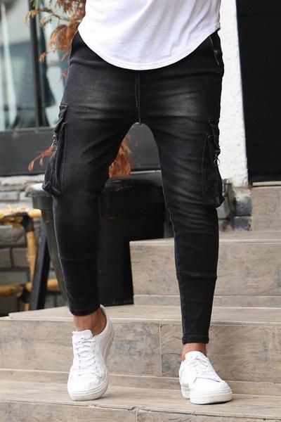Men's multi-pocket zipper decoration stretch jeans picture