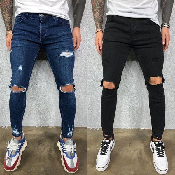 Men's ripped stretch jeans picture
