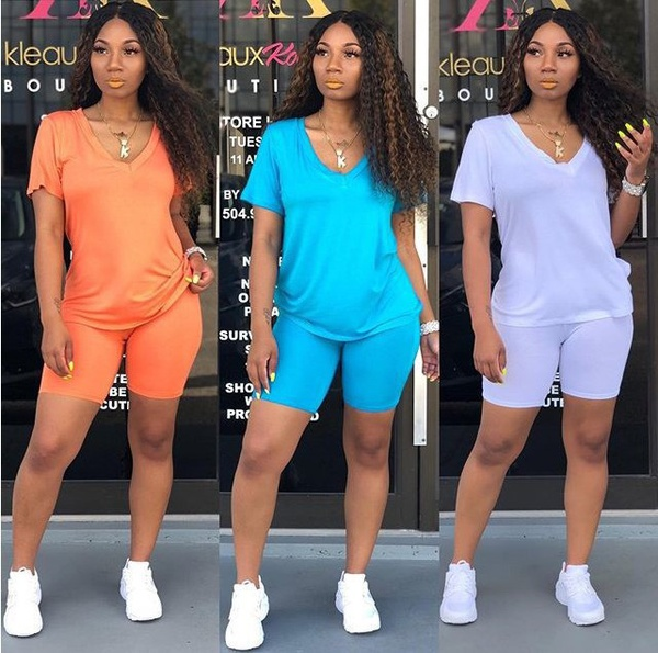 Women's summer solid color clothing picture