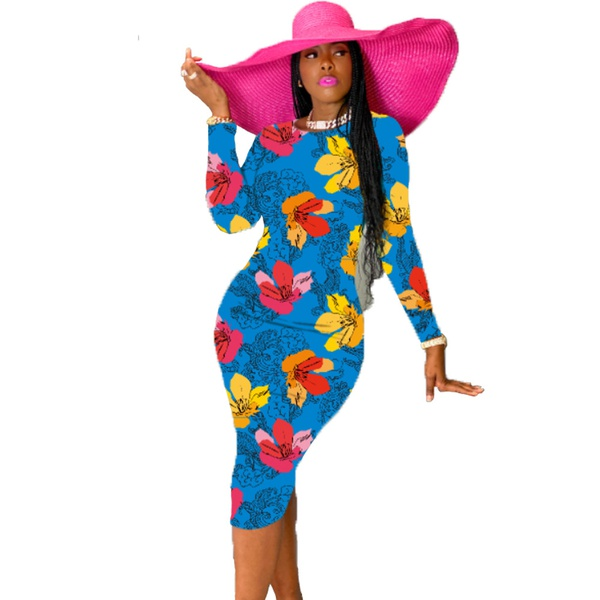 Silk digital printing long sleeve round neck ladies dress picture