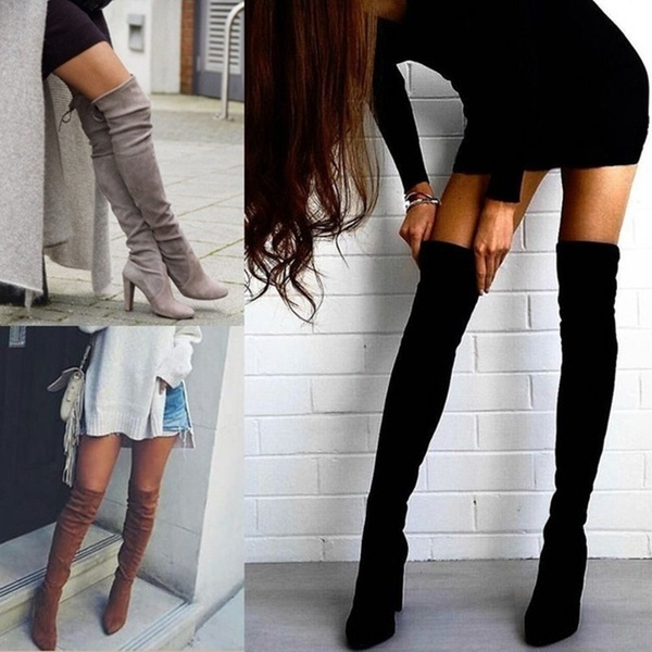 Women's winter pointed thick heel with side zippe picture