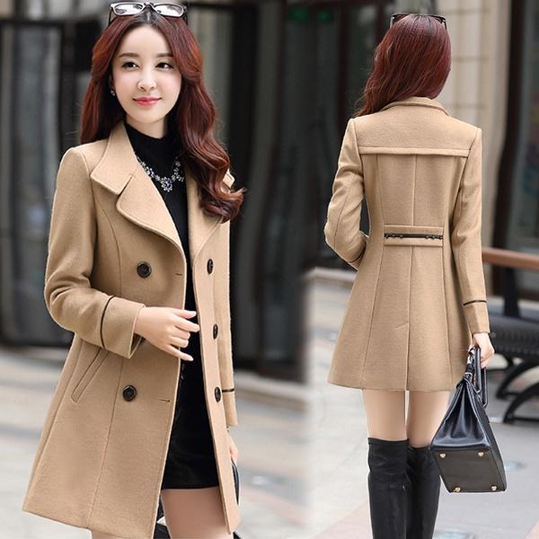 Women's long woolen coat for winter picture