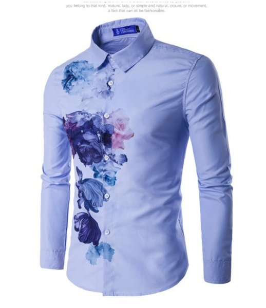 Men's slim fit long sleeve shirt picture