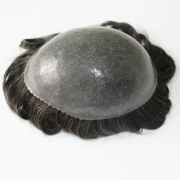 Thick skin pu base toupee with scalloped front - black with grey color picture