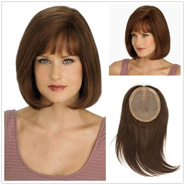Clip-in toppers with fringe 6x7 silk top base picture