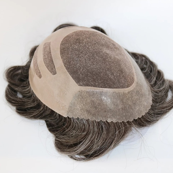 Mono lace with thin pu toupee picture