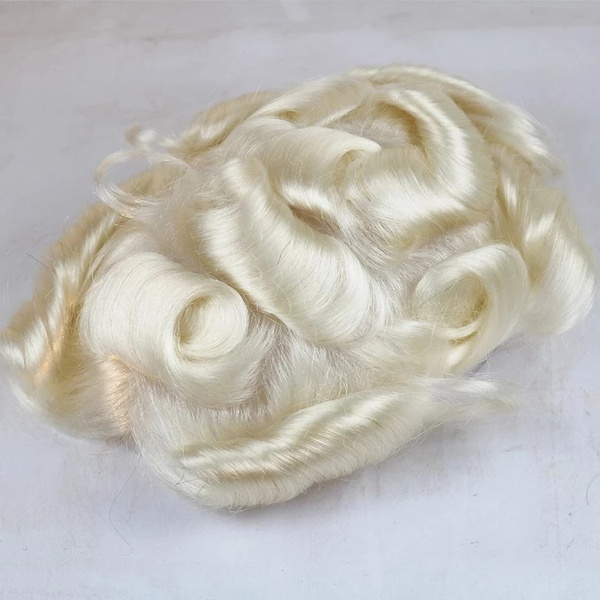 Platinum blonde #60 v loop thin skin hair toupee picture