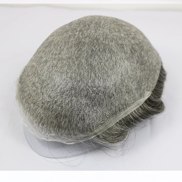 Ultra thin v loop pu toupee with french lace color #1b/65 picture