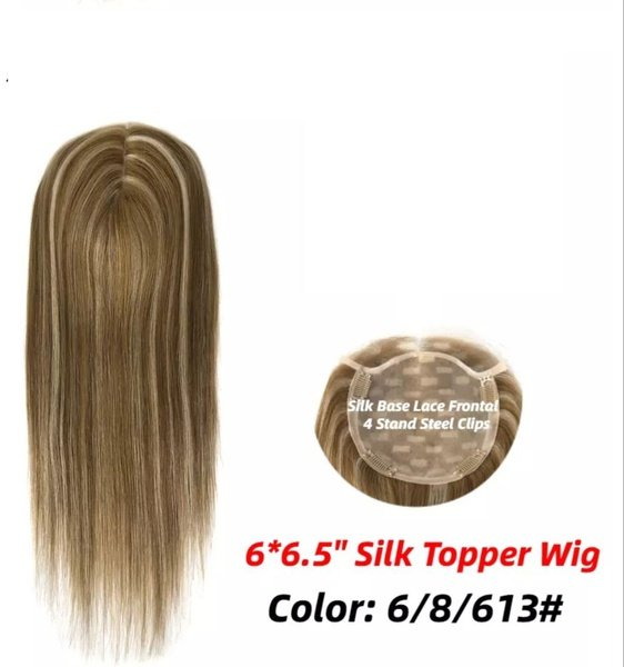 6x6.5 silk base clip-in toppers 150% density picture