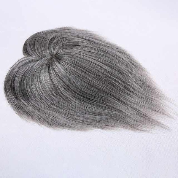 Silver grey 5x5 mono lace hair topper picture