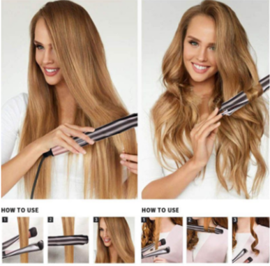 Unique ceramic twisted flat iron professional hair straightener curling iron 2 in 1 tourmaline picture