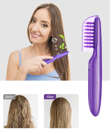 Wet or dry electric detangling brush with brush cover for adults & kids picture
