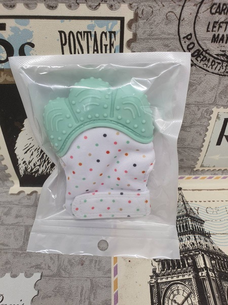 Teething mitten teal picture