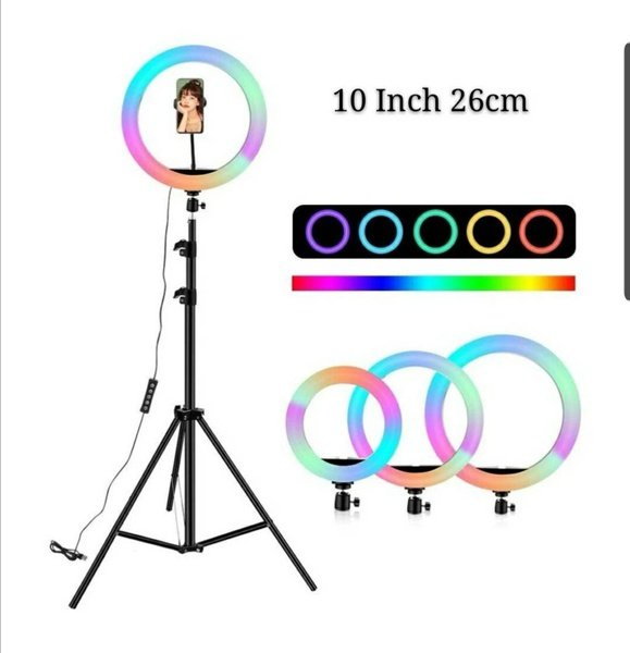 """10"""" ring light with stand multi color picture"""