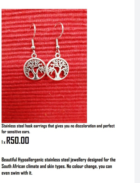 Stainless steel hook earing tree of life picture