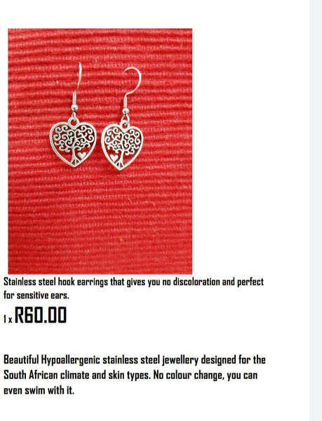 Stainless steel hook heart earing picture