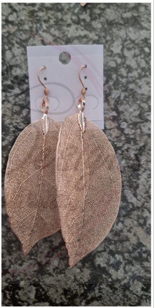 Rose gold leaf earings large picture