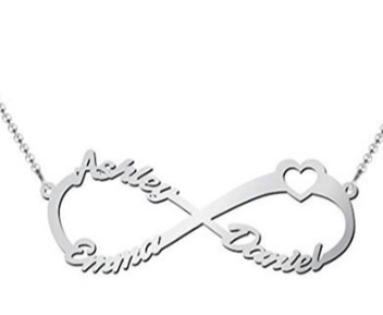 Infinity sign name necklace 3 names picture