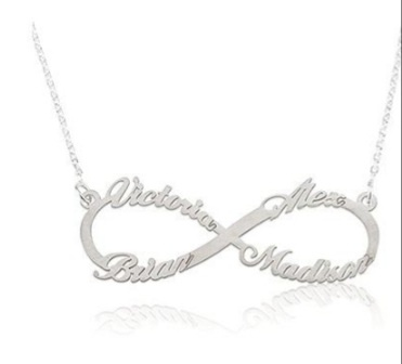 Infinity sign name necklace 4 names picture