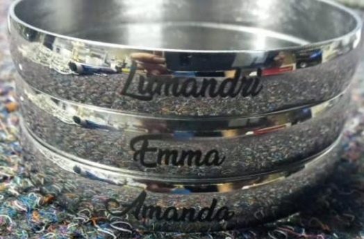 Solid bangles with engraving single 6/8/10mm picture