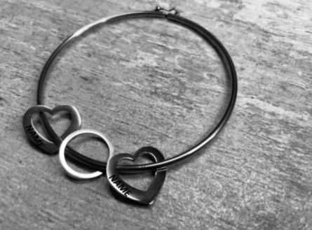 Solid hoop and heart bangle , ( engraved on  two hearts) picture