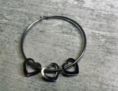 Solid 3 heart bangle , ( engraved on two hearts) picture