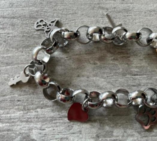 Charm bracelet 21cm paw print picture