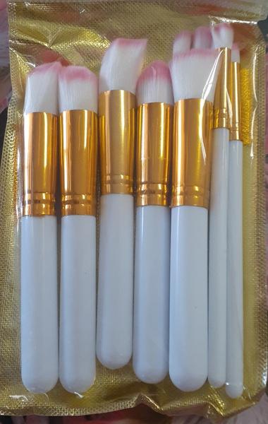 10pc make up brush set pink & white picture