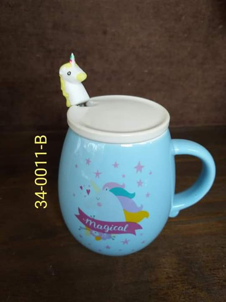 Unicorn cup with lid blue picture