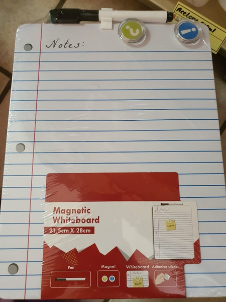 Magnetic lined white board picture