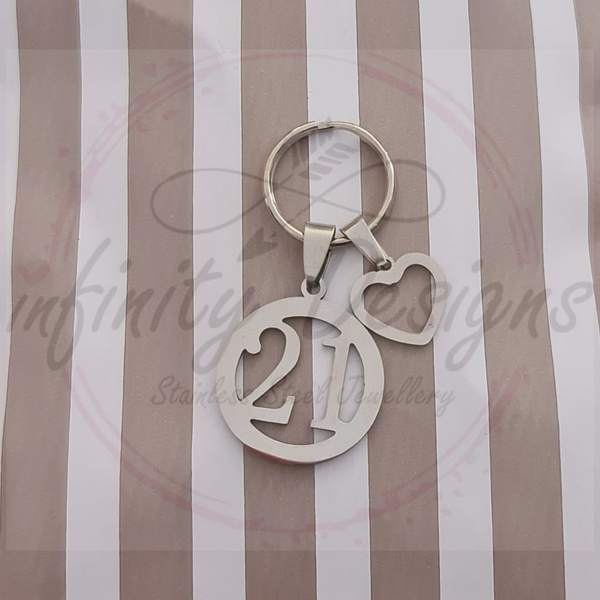 21 heart key ring picture