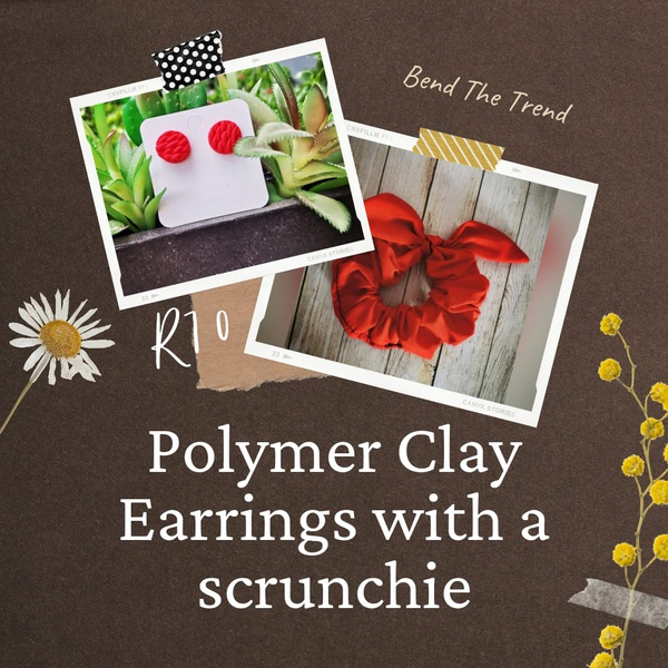 Polymer clay earings with free scrunchie a picture