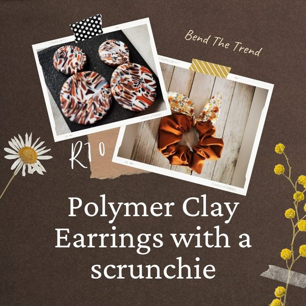 Polymer clay earings with free scrunchie b picture