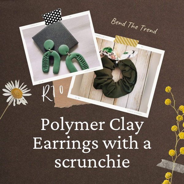 Polymer clay earings with free scrunchie c picture