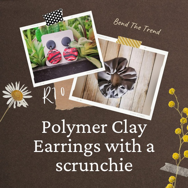 Polymer clay earings with free scrunchie d picture