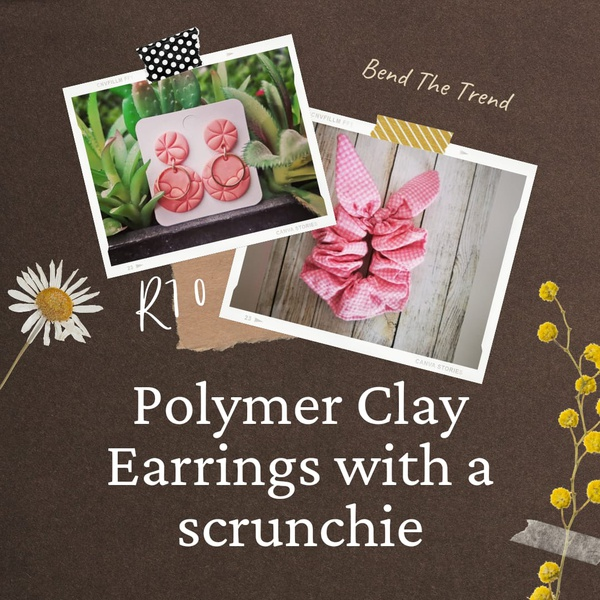 Polymer clay earings with free scrunchie e picture