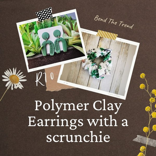 Polymer clay earings with free scrunchie f picture