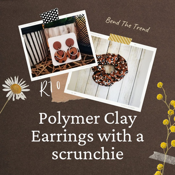 Polymer clay earings with free scrunchie g picture