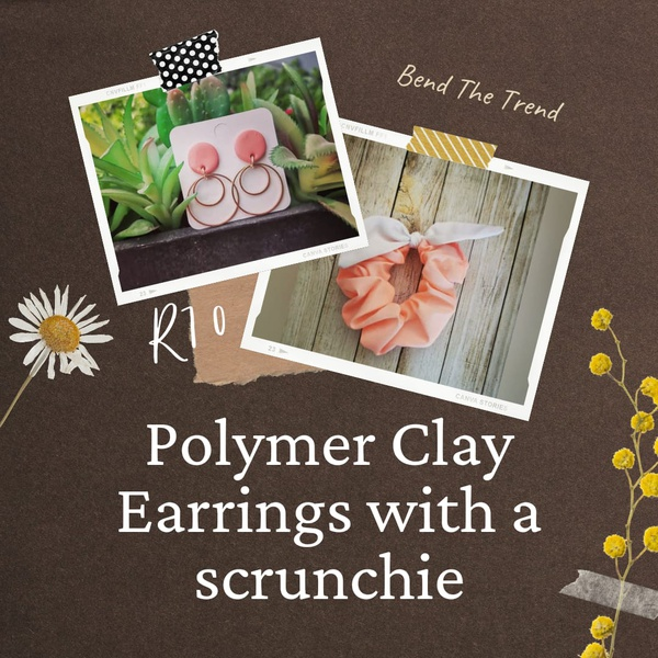 Polymer clay earings with free scrunchie h picture