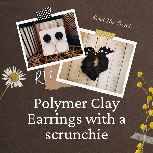 Polymer clay earings with free scrunchie i picture