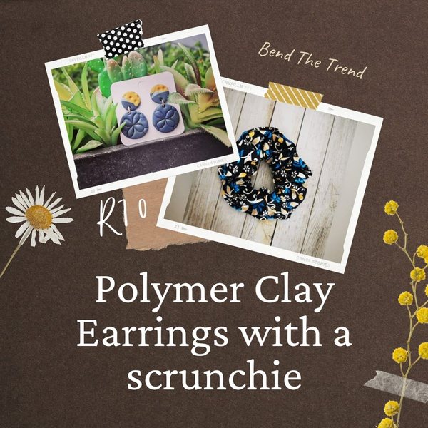 Polymer clay earings with free scrunchie j picture
