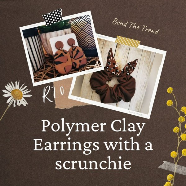 Polymer clay earings with free scrunchie k picture