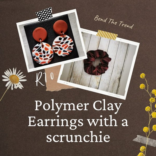Polymer clay earings with free scrunchie l picture