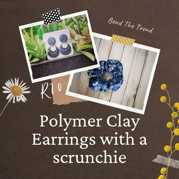 Polymer clay earings with free scrunchie m picture