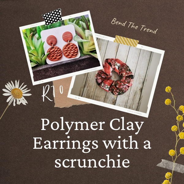Polymer clay earings with free scrunchie n picture