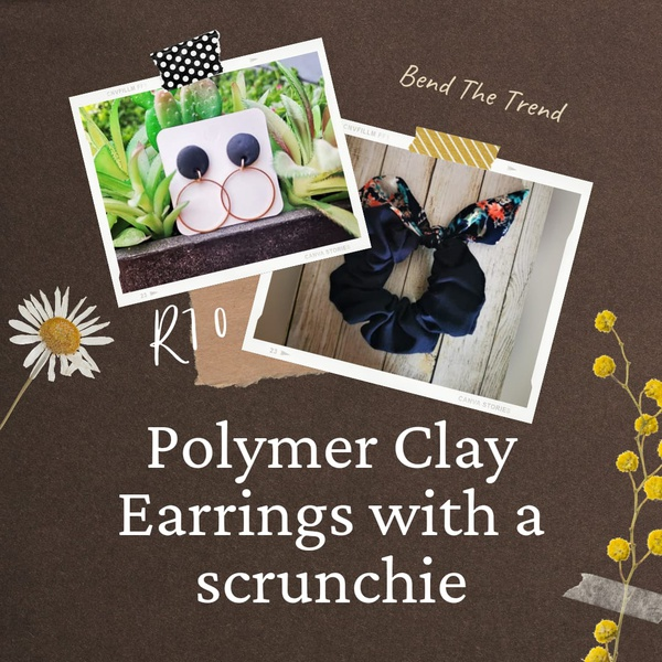 Polymer clay earings with free scrunchie o picture