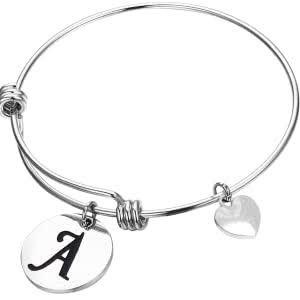 Personalize solid initial disk bracelet includes initial engraving (max 1 character) picture