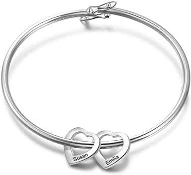 Personalize solid 2 heart disk bracelet includes initial engraving (max 7 character) picture