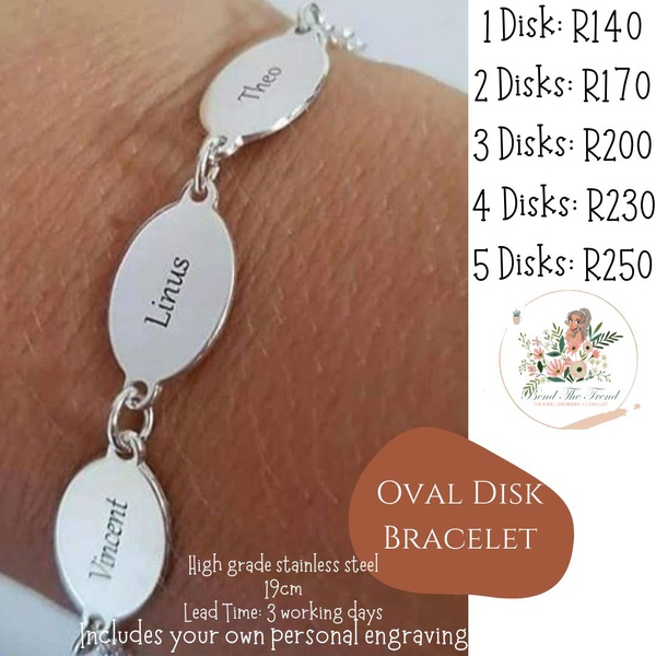 Oval disk bracelet 1 disk with engraving picture