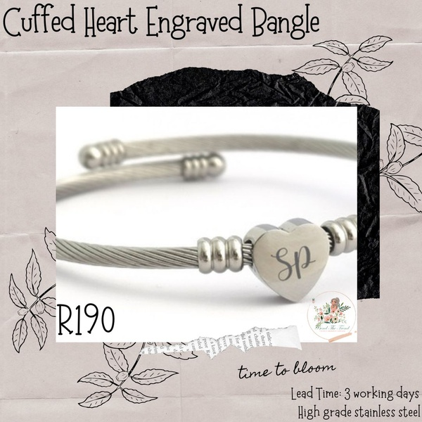 Cuffed heart engraved bangle picture